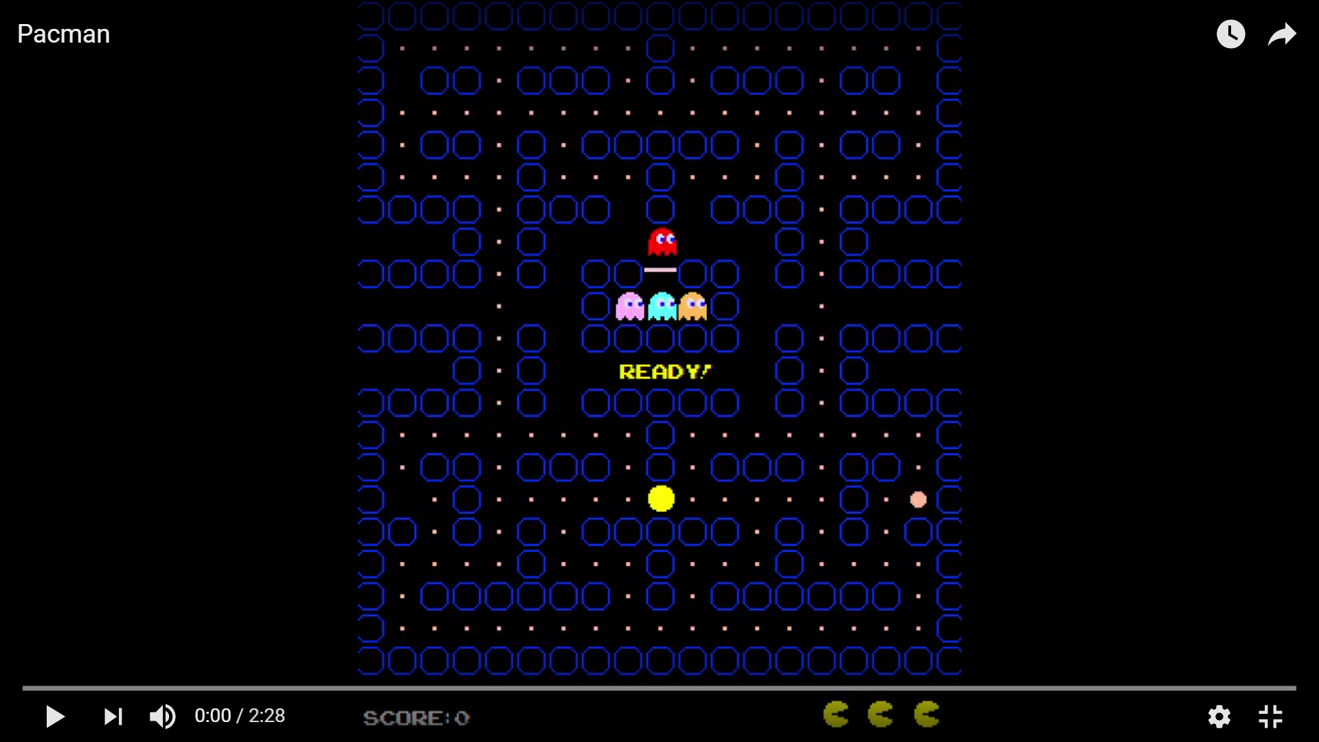 Screenshot from the gameplay video of Pacman