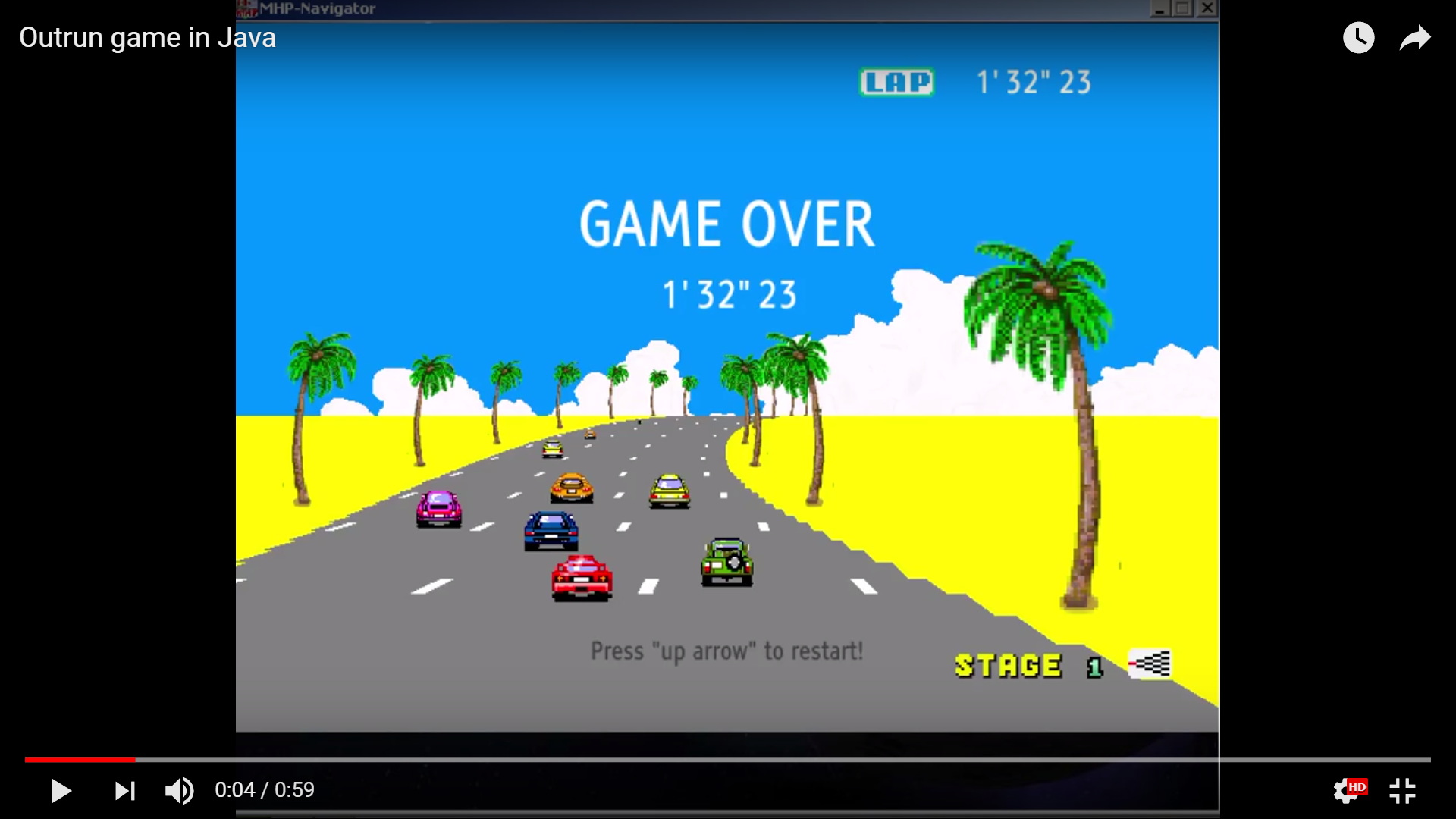 Screenshot from the gameplay video of Outrun