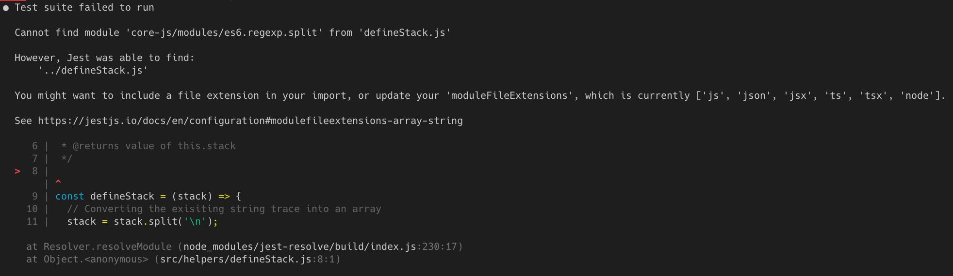 Cannot find module 'core-js/modules/es6 regexp split