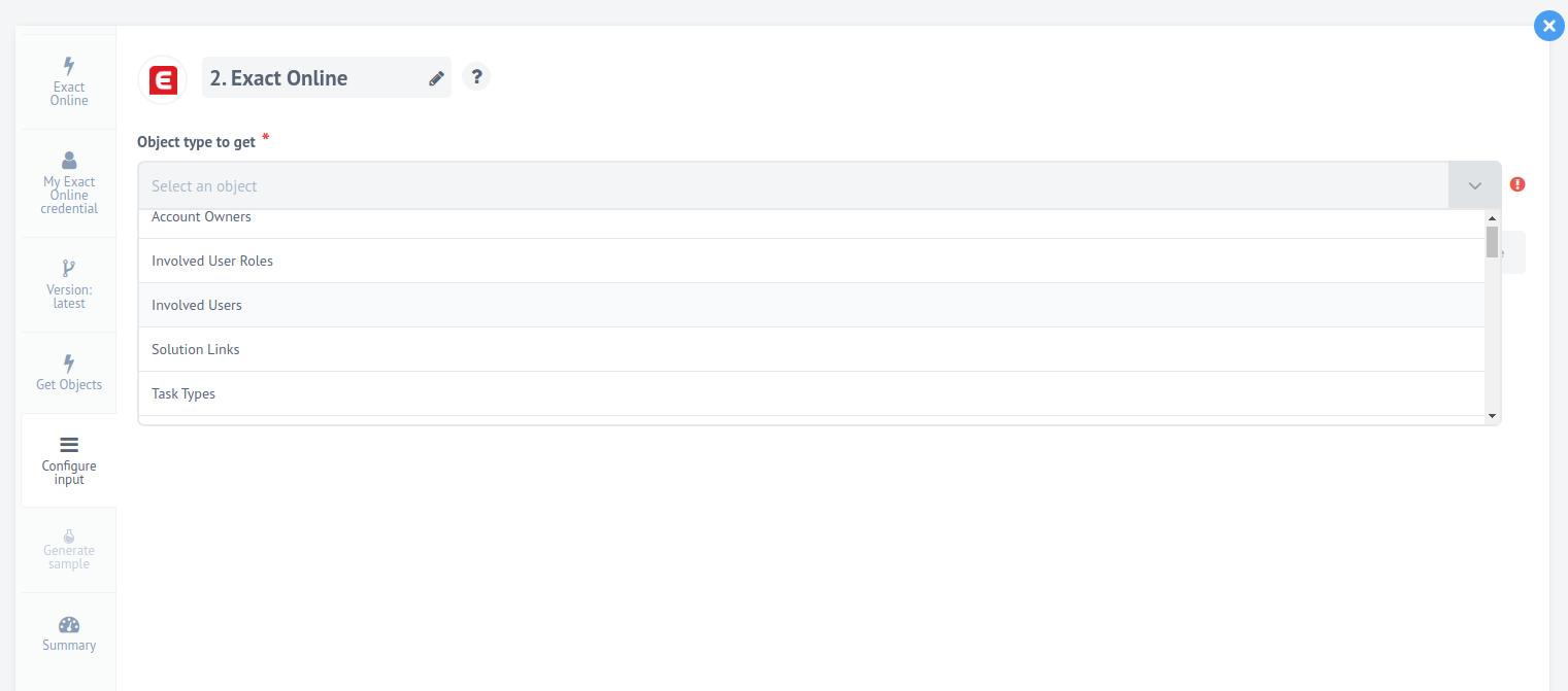 Exact Online  - configuration input