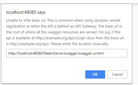 unable to view /infer base url issue in swagger-ui html when