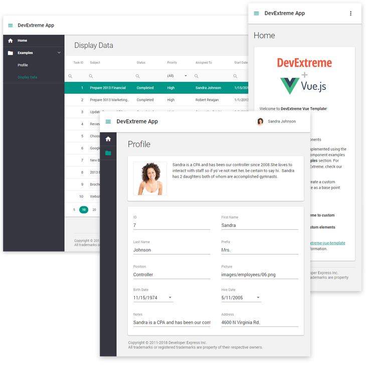 DevExtreme-Vue-Template