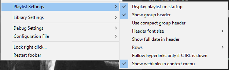 Playlist settings menu