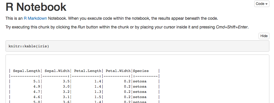 knitr::kable is not rendered in the output of a chunk in R
