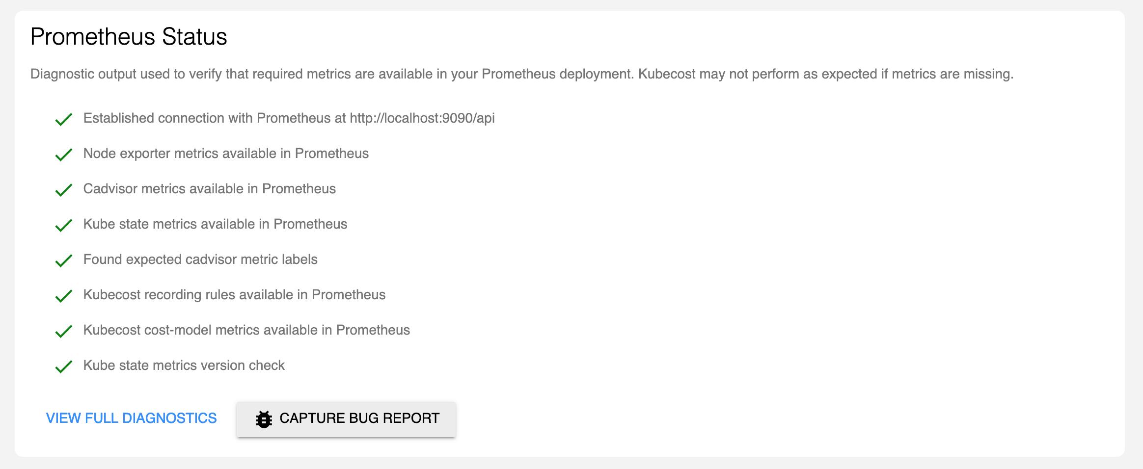 Prometheus status screenshot