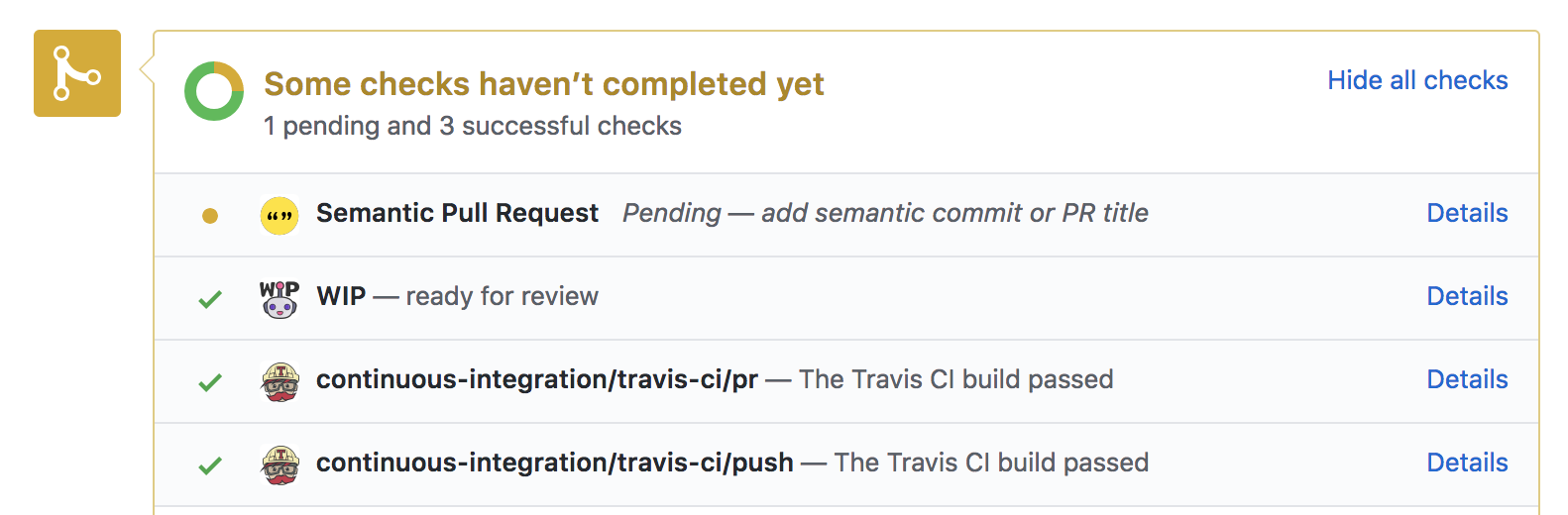 Screenshot of Semantic Pull Requests app