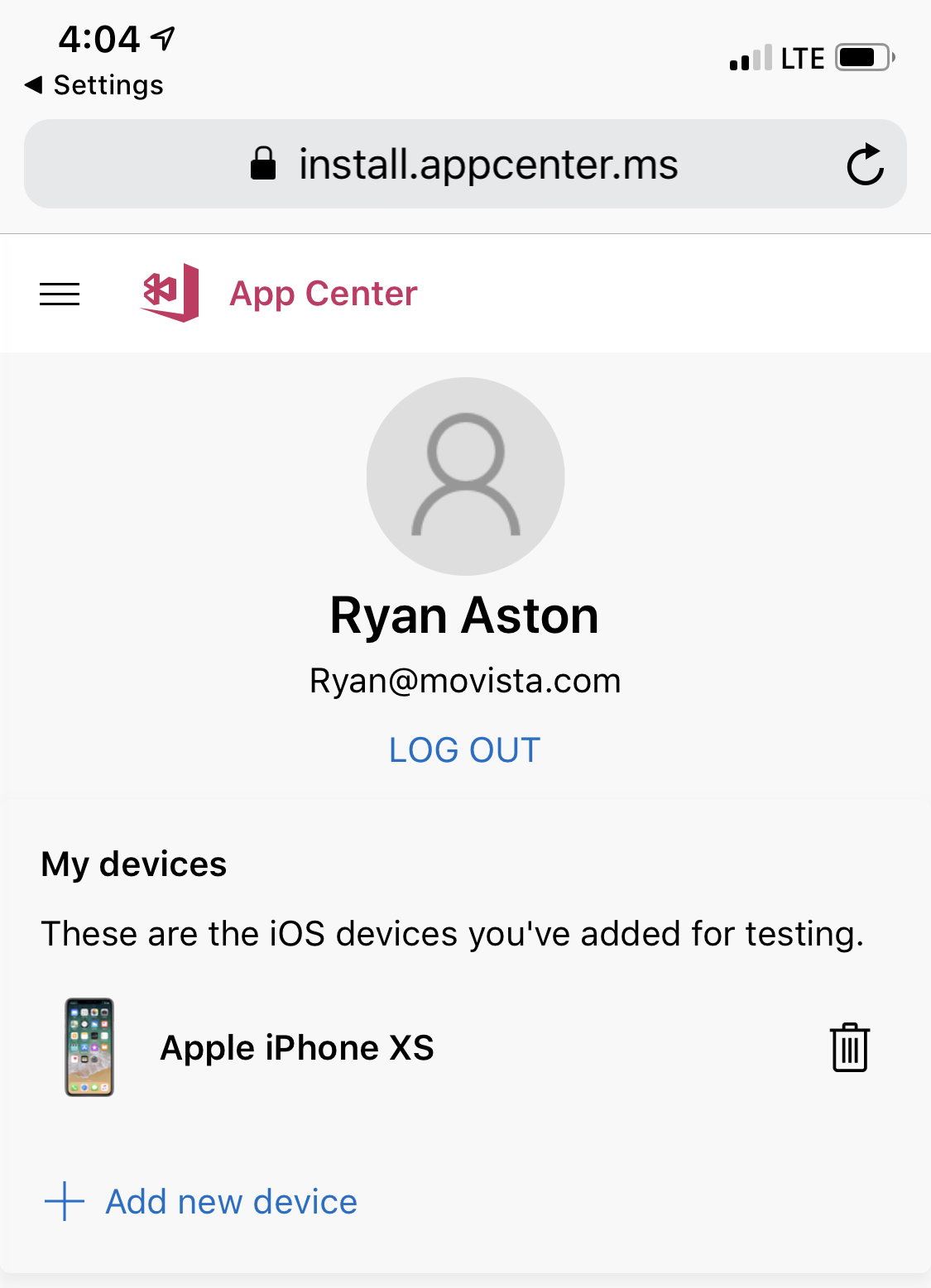 Cannot install App Center Profile on iPhone XS (iOS 12 3 1