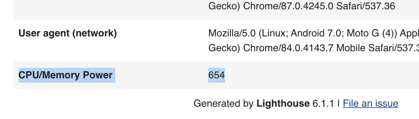 Screenshot of CPU/Memory Power in Lighthouse report