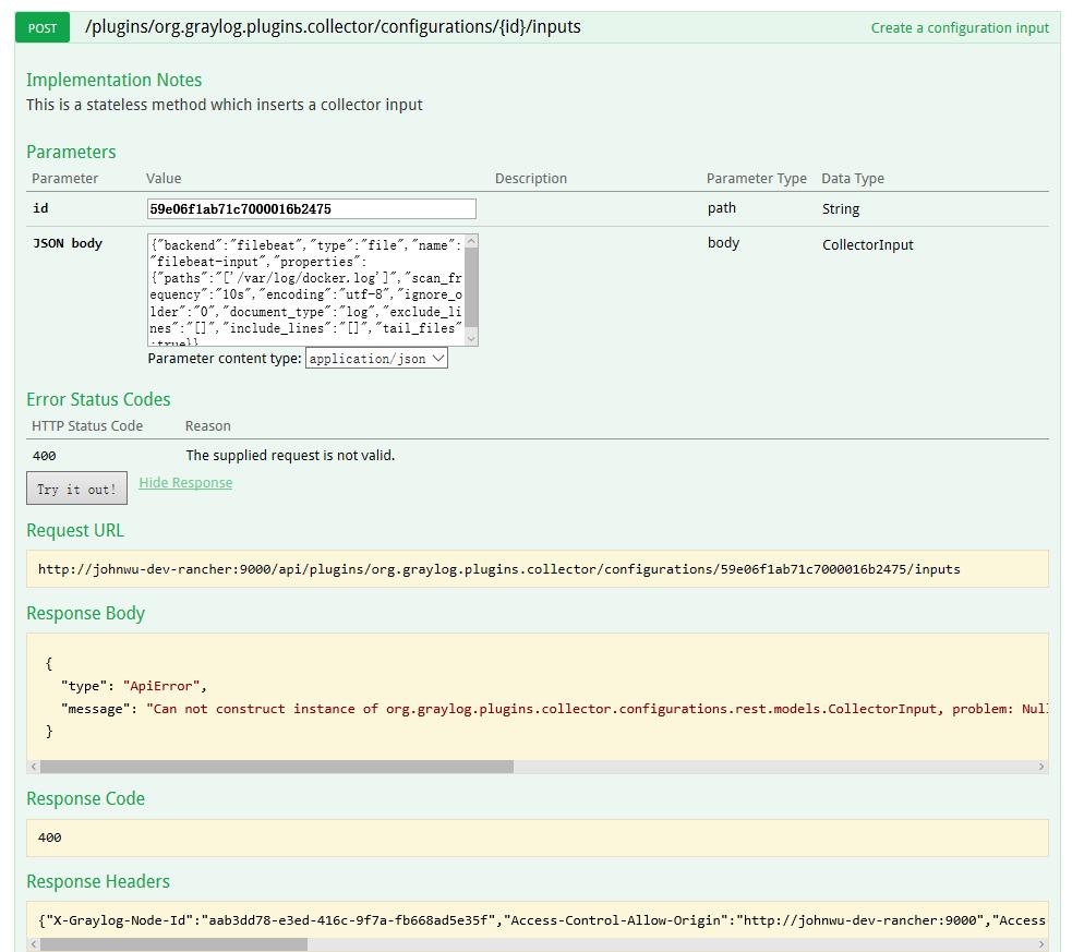 Configure Beats Inputs,create input|output|snippet doesn't work