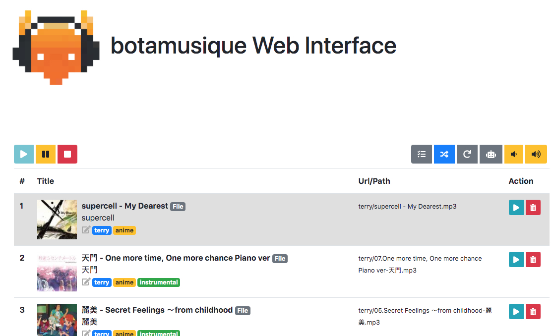 botamusique web interface