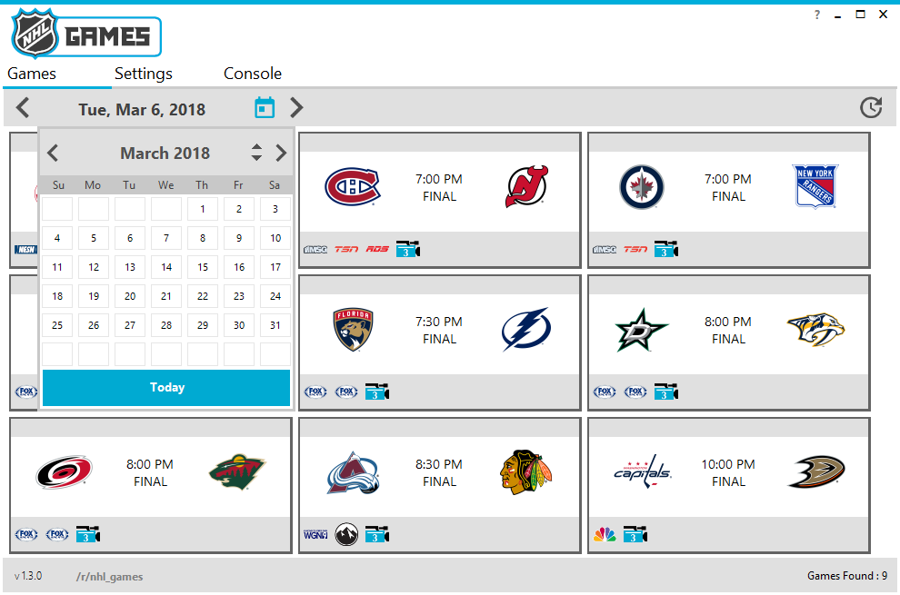 GitHub - NHLGames/NHLGames: Windows front end for watching