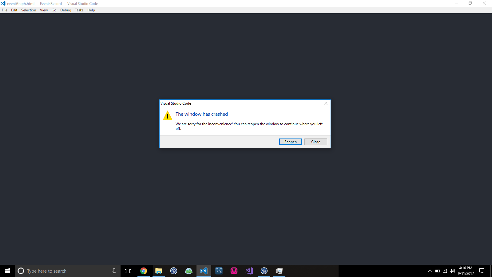 Visual studio code keep crashing on windows 10 after latest