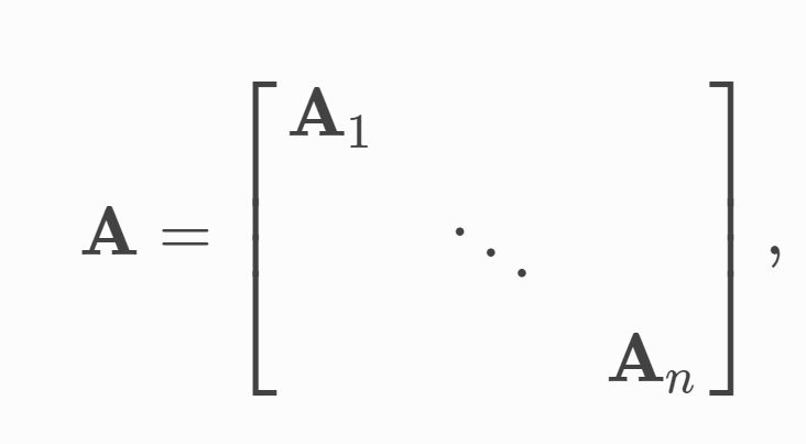 How is the 'sparse block diagonal adjacency matrices (defined by