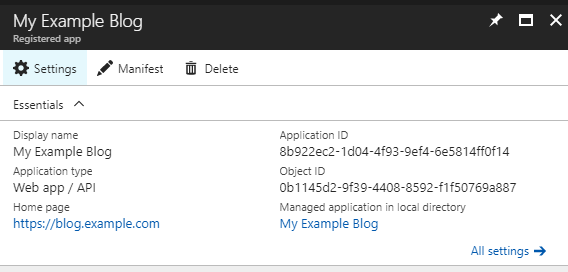 App settings summary page