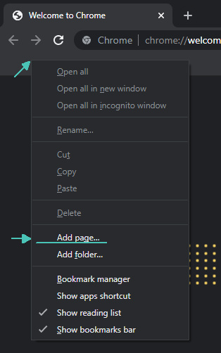 add new bookmark page
