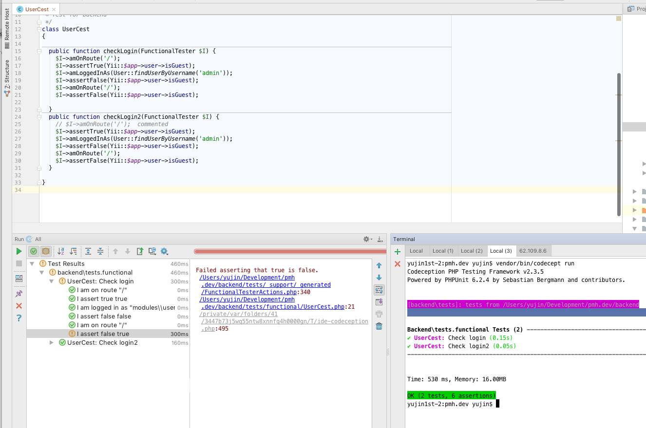 Codeception seems breaks the session in Phpstorm · Issue