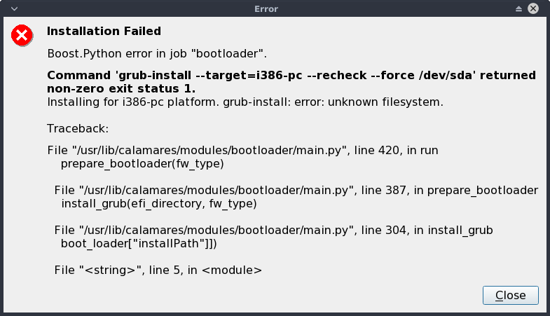 Calamares installation failed with f2fs filesystem (on Archman