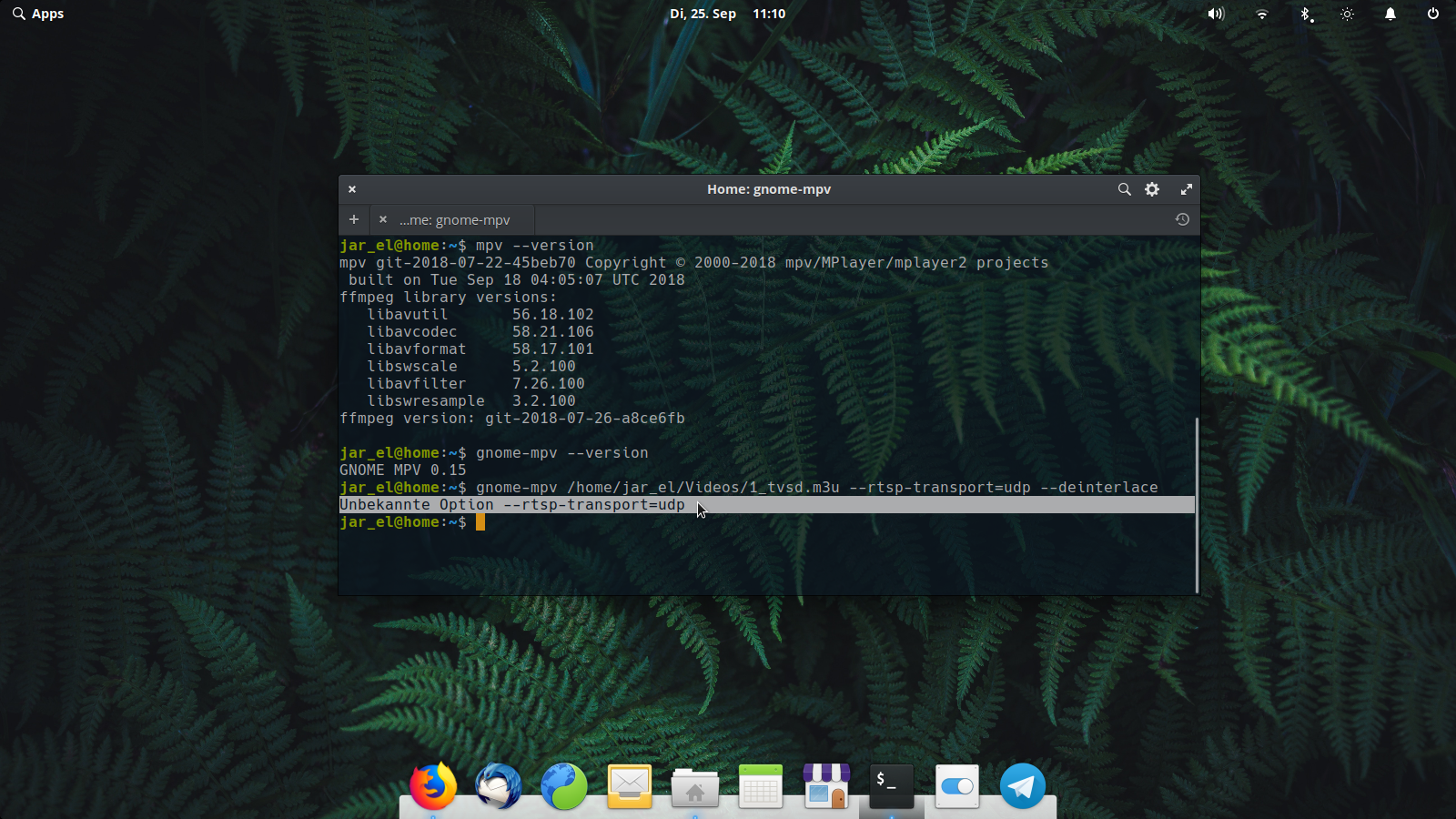 rtsp-transport=udp --deinterlace >> 'unknown option(s)' with gnome