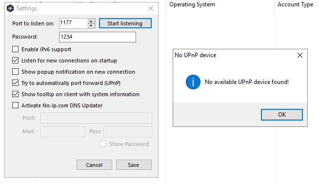 No available UPnP device found · Issue #624 · quasar/QuasarRAT · GitHub