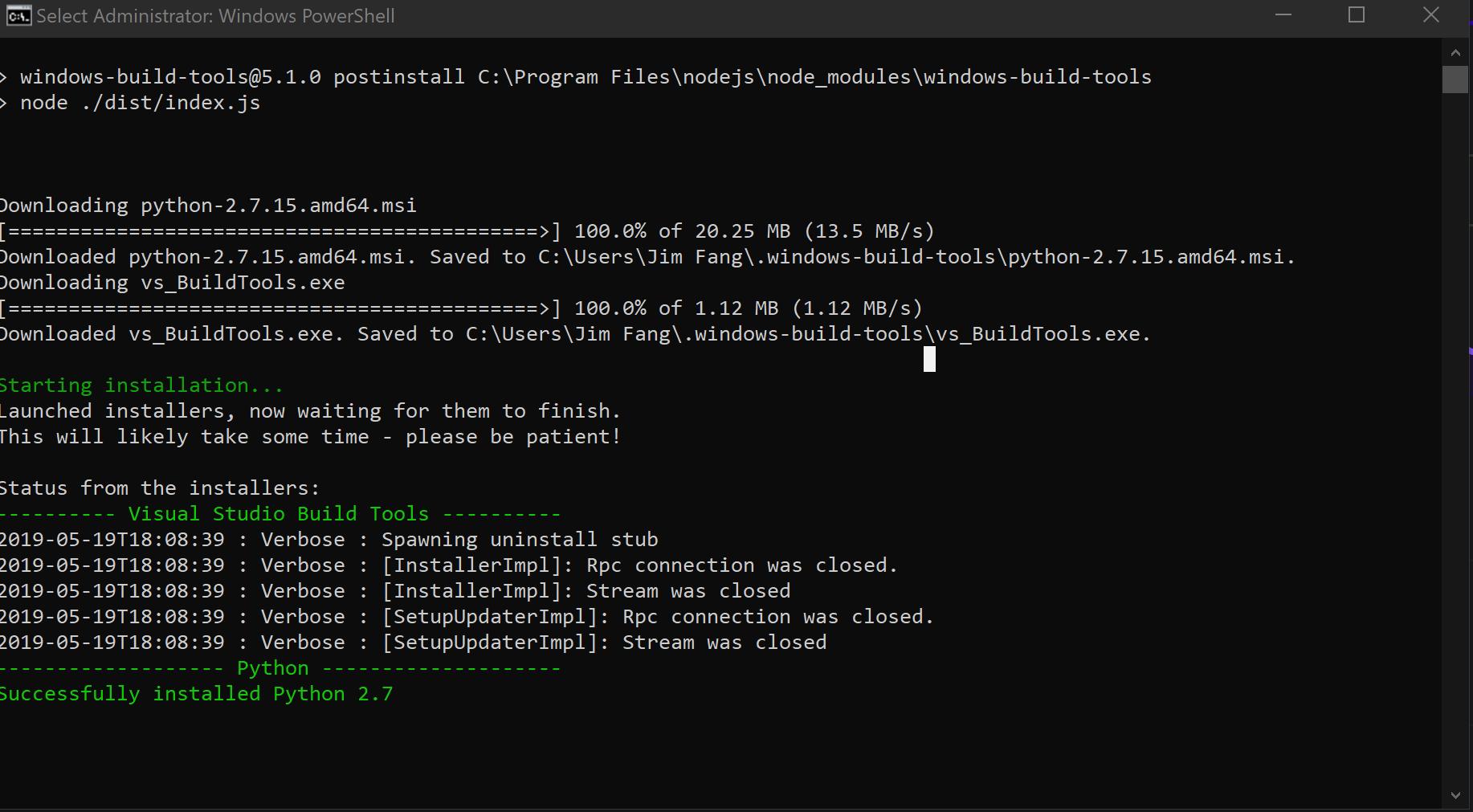 install node windows build tools