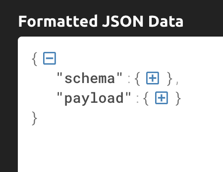 JSON message collapsed to show top-level headings