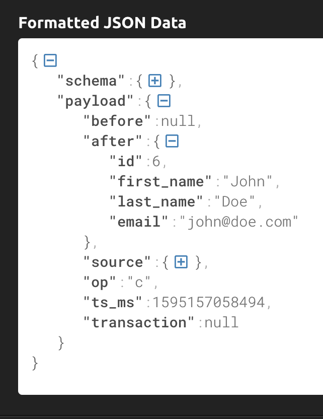 JSON message expanded to show payload.after