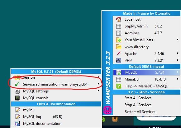 Proceso BDD ejecutándose visto desde WampServer