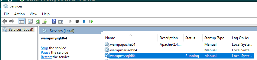 Servicio wampmysqld
