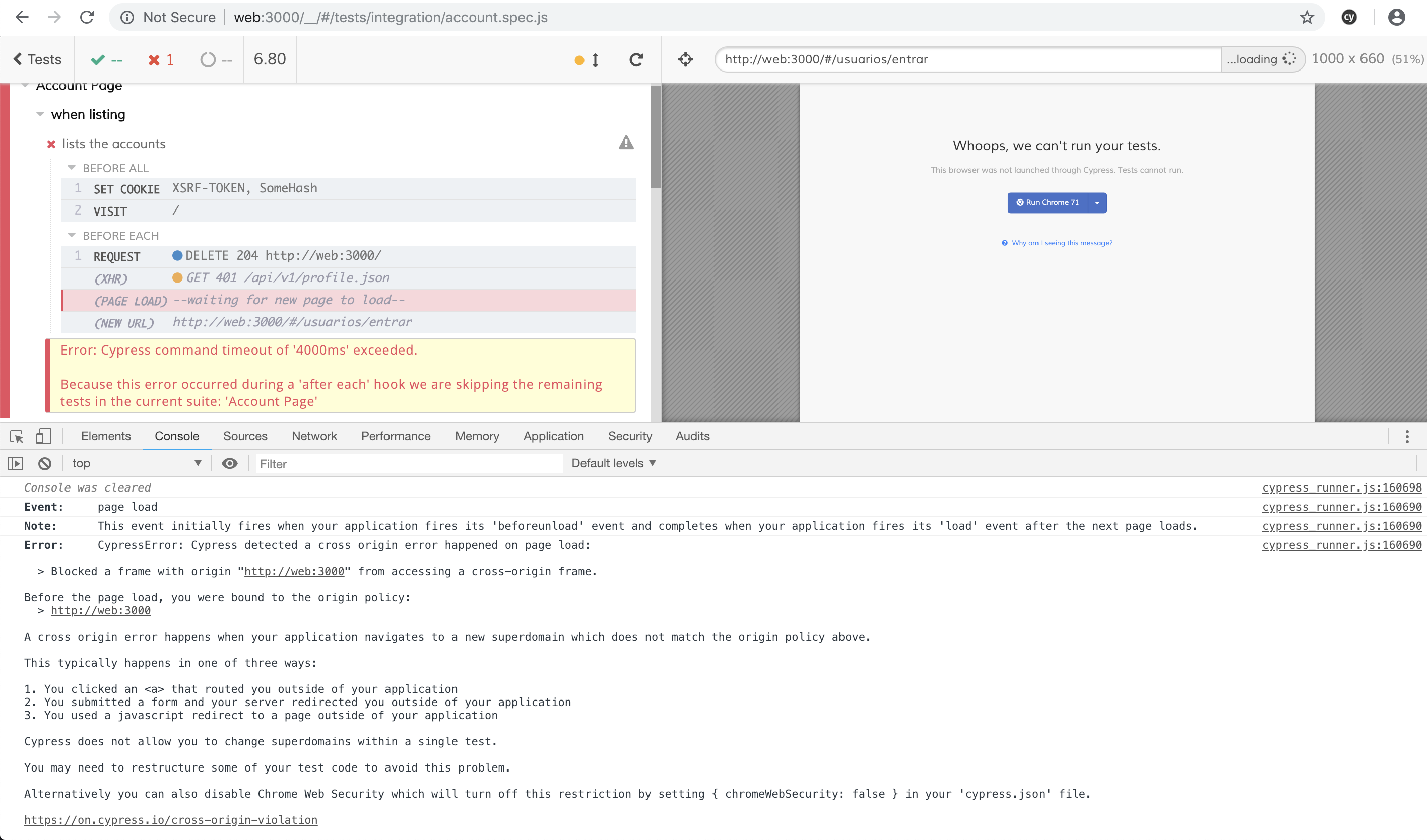Cypress is not running on Chrome 71 · Issue #2899 · cypress-io