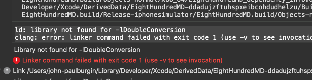 Xcode Build error: library not found for -lDoubleConversion · Issue