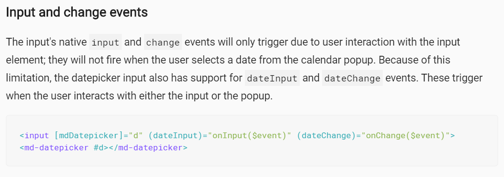 datepicker: (change) event does not work in mdInput · Issue