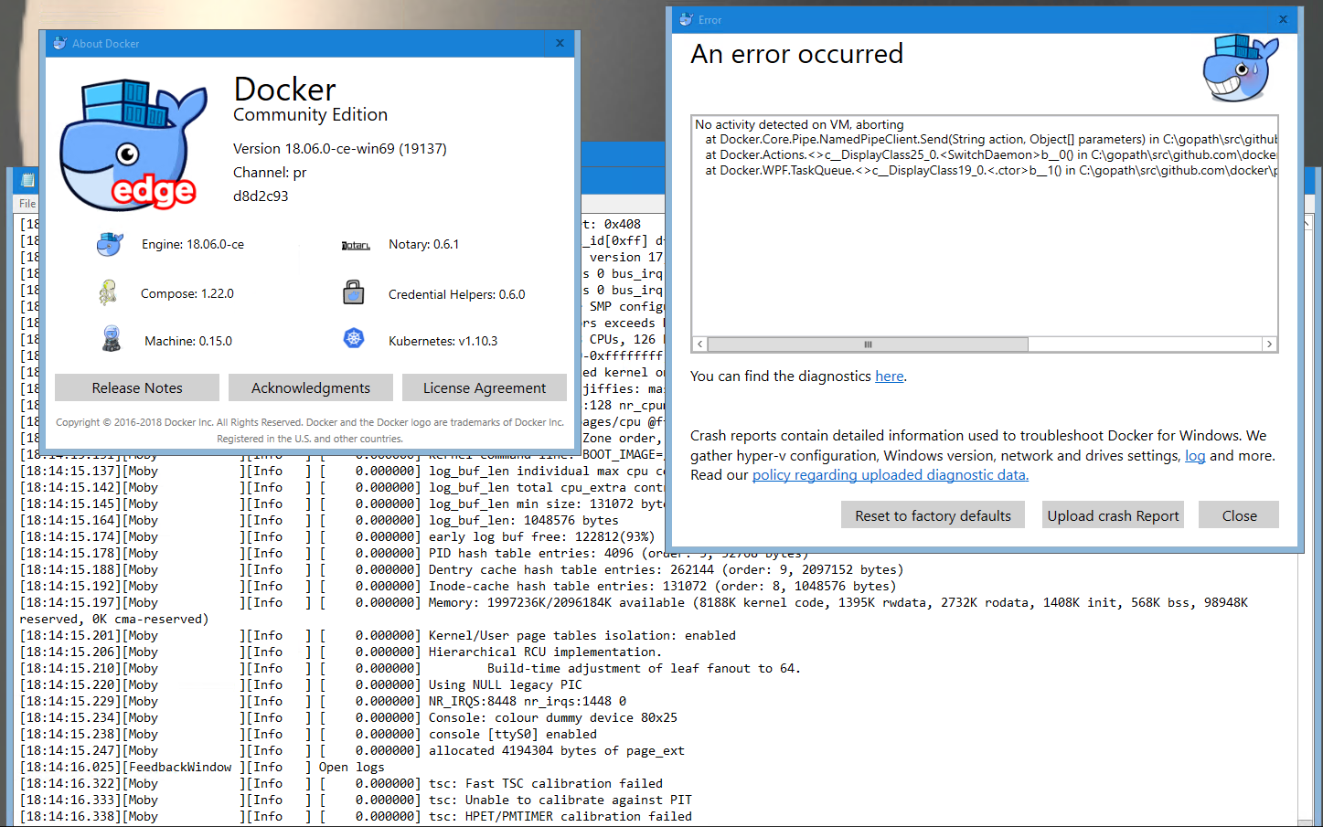 No activity detected on VM, aborting · Issue #2214 · docker/for-win