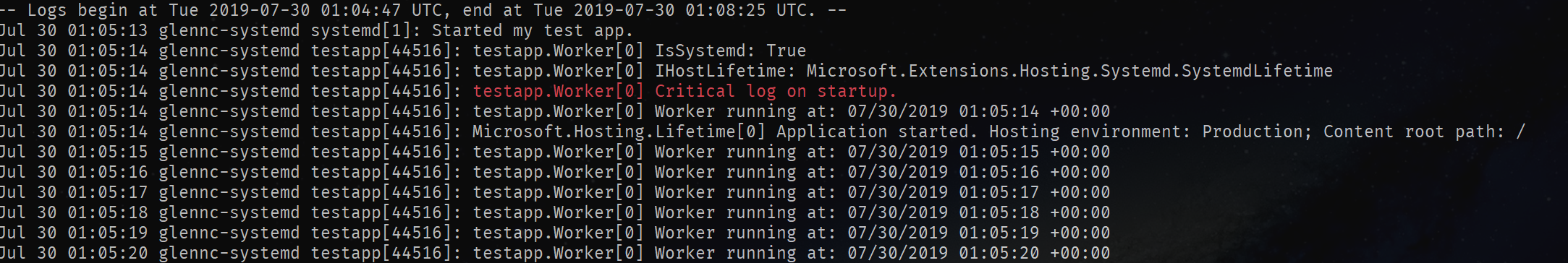 Log messages in a console app with red critical logs