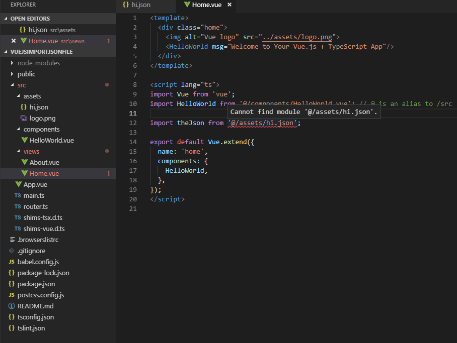 How do you import a JSON file with VueJS / Typescript