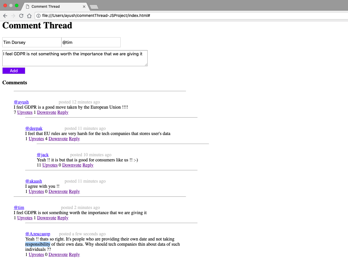 GitHub   aroraayush/nested comments html Nested comment reply ...