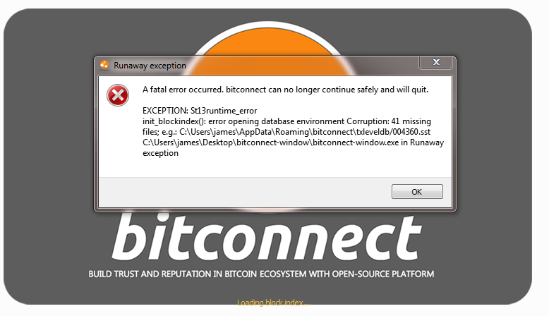 Bitconnect wallet fatal error on startup win 10 issue 16 bitconnect wallet runaway exception stopboris Choice Image