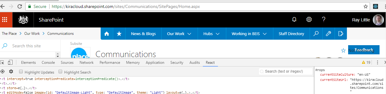 partial page load across site collections modern team sites issue