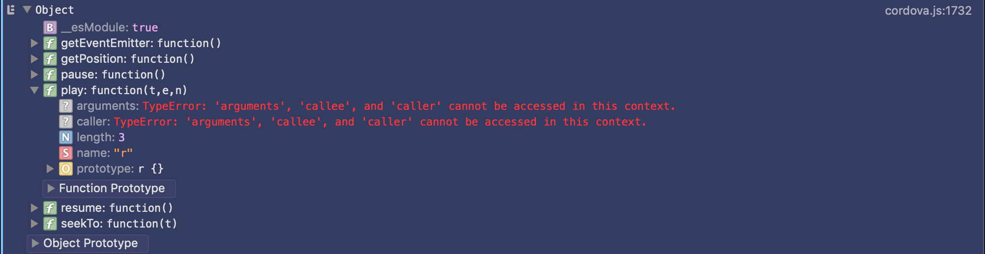 TypeError: 'arguments', 'callee', and 'caller' cannot be