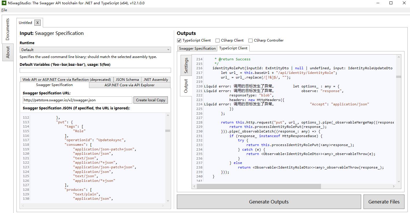 TypeScript Client Generator has Liquid error: Exception has been
