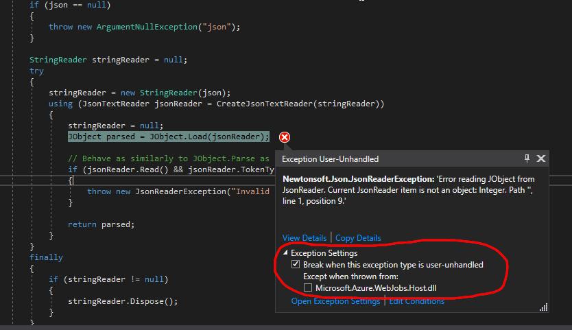 Newtonsoft Json JsonReaderException exception on all queue