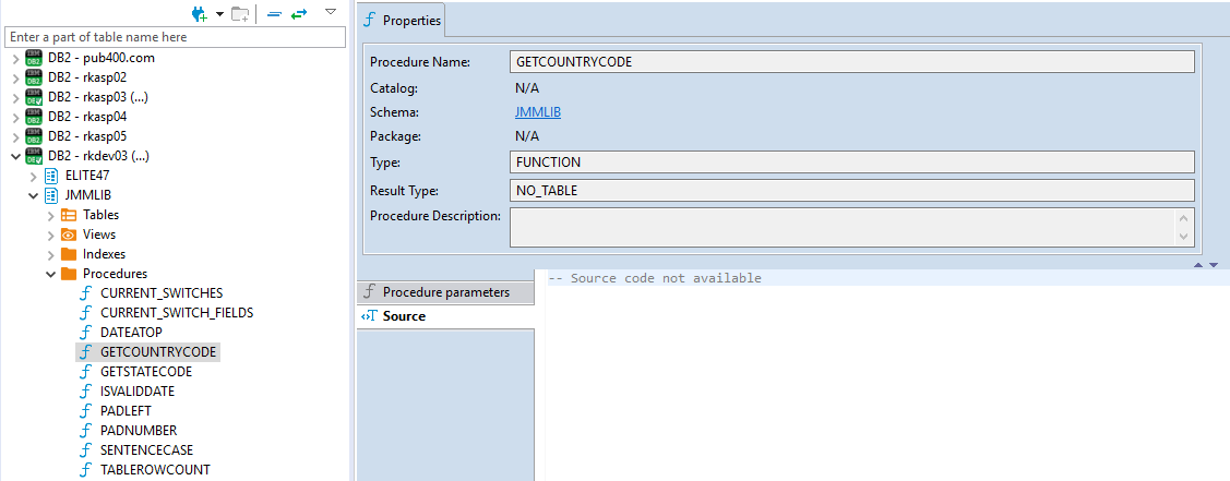 Stored procedure not generating DDL on IBM i DB2 platforms · Issue