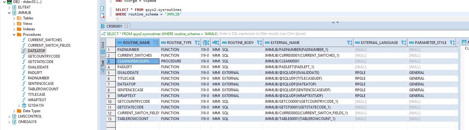 Stored procedure not generating DDL on IBM i DB2 platforms
