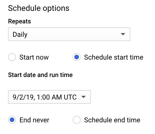 Scheduled queries