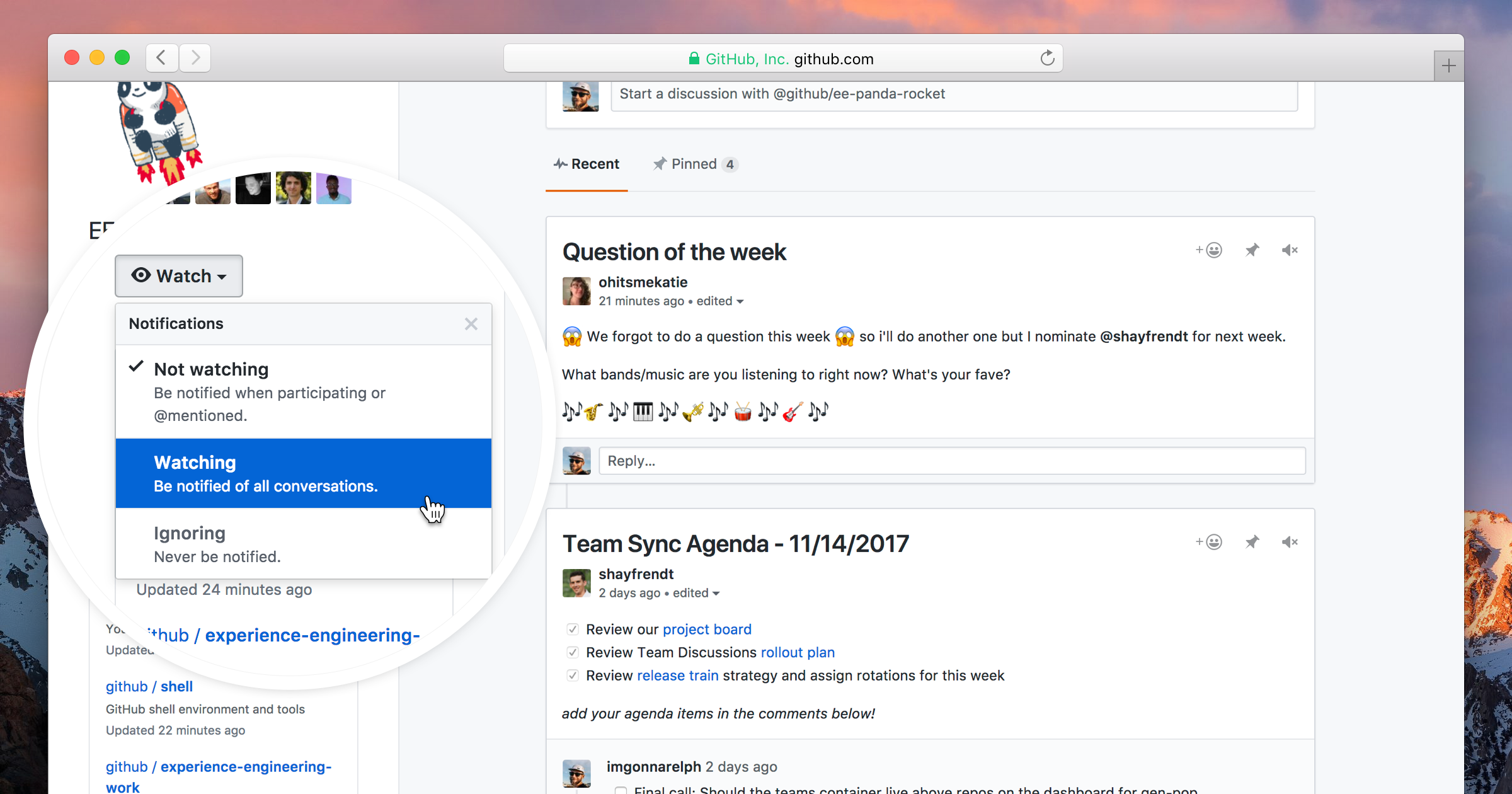 Screenshot of team discussions view