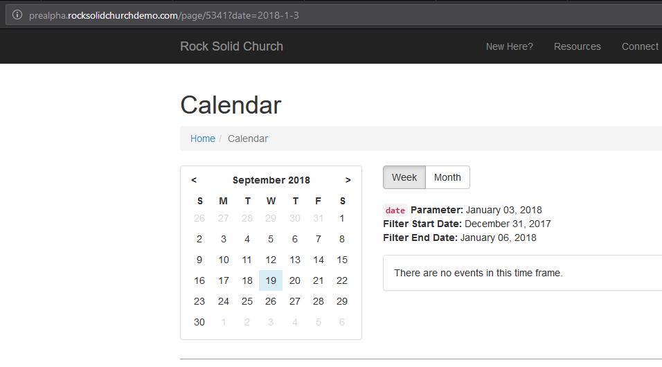Mini-calendar in EventCalendarLava block doesn't update when using
