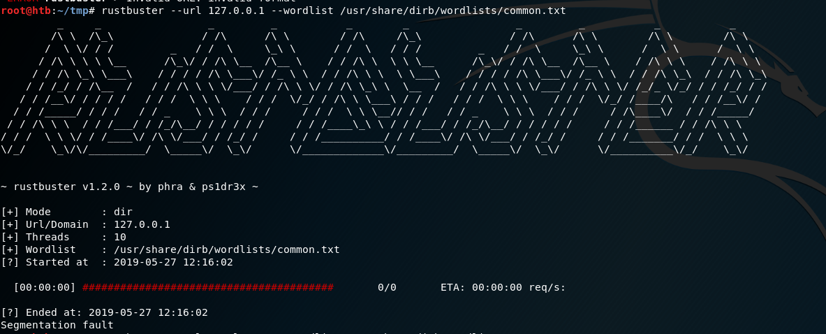 Specifying just the IP/Hostname to dirbust causes a segfault · Issue