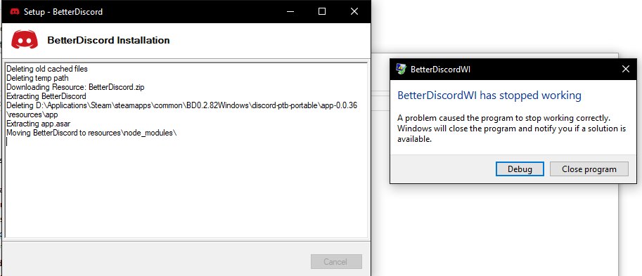 Cannot Install BetterDiscord PTB · Issue #608 · Jiiks