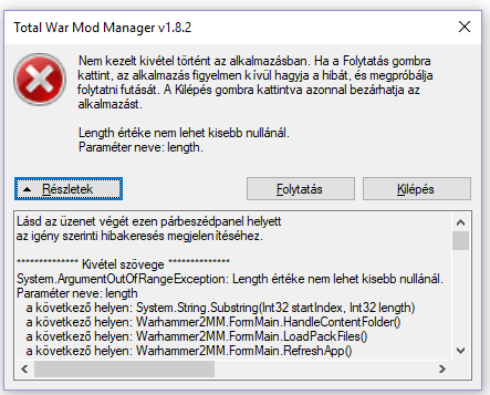 Issue with an exception · Issue #24 · Kaedrin/warhammer-mod-manager