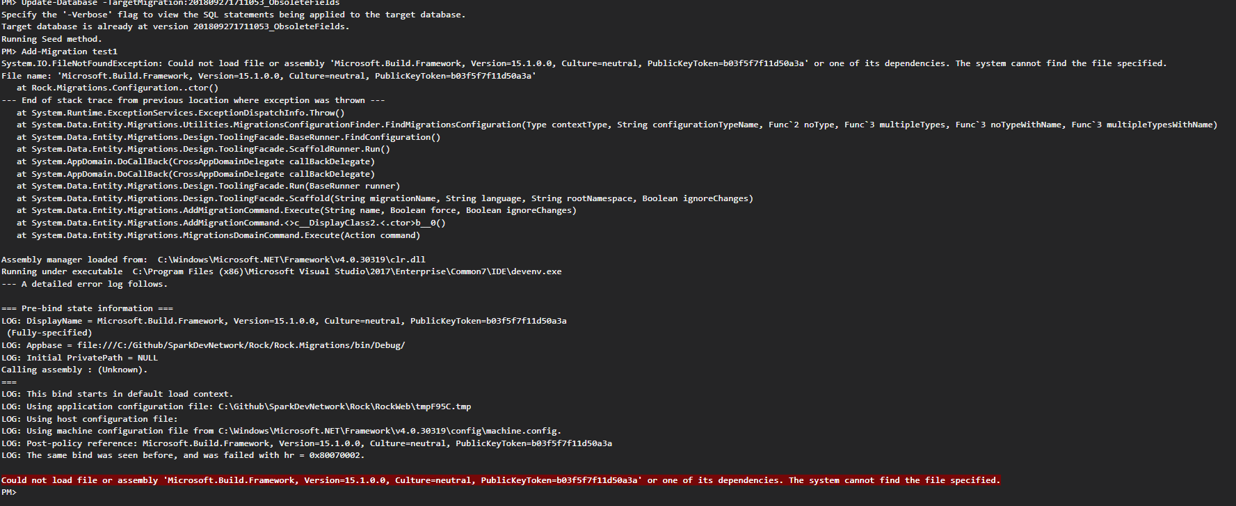 Add-Migration and Update-Database fail because of attempt to