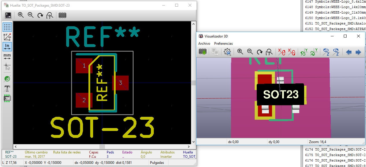 Footprint TO_SOT_Packages_SMD:SOT-23 and 3D model pins does